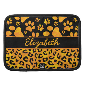 Leopard Print and Paws Orange Yellow Personalized Planners