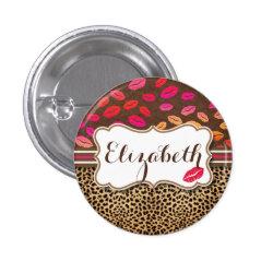 Leopard Print Lips Kisses Personalized Button