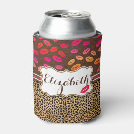 Leopard Print Lips Kisses Personalized Can Cooler