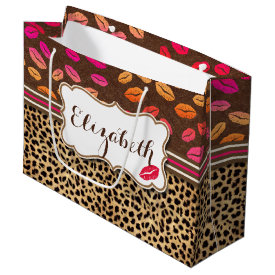 Leopard Print Lips Kisses Personalized Large Gift Bag