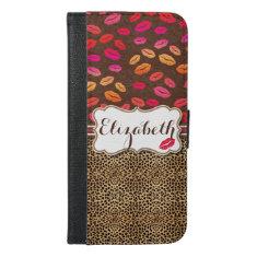 Leopard Print Lips Kisses Personalized iPhone 6/6s Plus Wallet Case