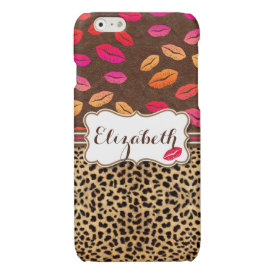 Leopard Print Lips Kisses Personalized Glossy iPhone 6 Case