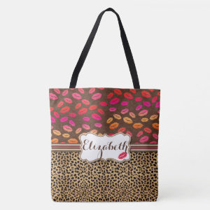 Leopard Print Lips Kisses Personalized Tote Bag