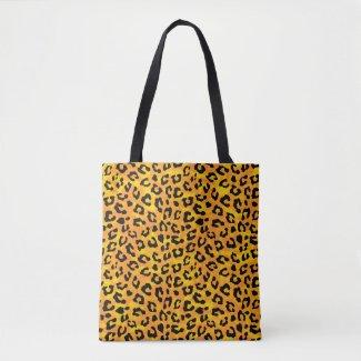 Leopard Print Orange Yellow Print Tote Bag