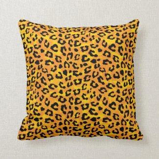 Leopard Print  Orange Yellow Vector Print Throw Pillow
