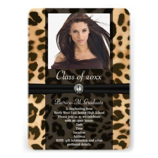 Leopard Ribbon Photo Graduation Custom Announcement