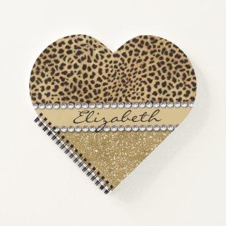 Leopard Spot Gold Glitter Rhinestone Love Notebook