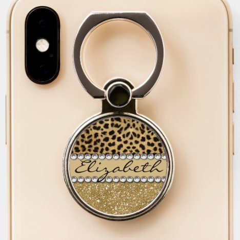 Leopard Spot Gold Glitter Rhinestone Love Phone Ring Stand