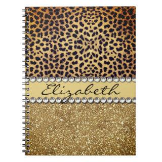 Leopard Spot Gold Glitter Rhinestone Notebook