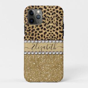 Leopard Spot Gold Glitter Rhinestone PHOTO PRINT iPhone 11 Pro Case