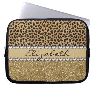 Leopard Spot Gold Glitter Rhinestone PHOTO PRINT Computer Sleeve