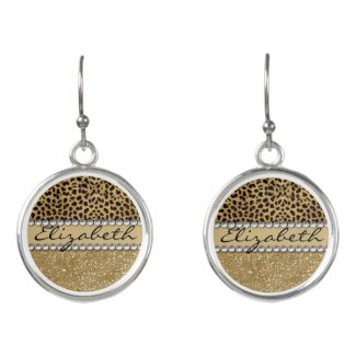 Leopard Spot Gold Glitter Rhinestone PHOTO PRINT Earrings
