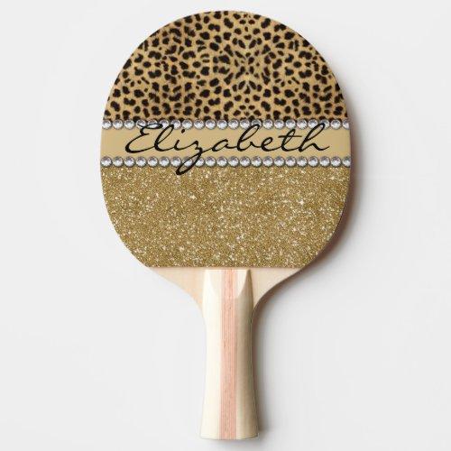 Leopard Spot Gold Glitter Rhinestone PHOTO PRINT Ping Pong Paddle