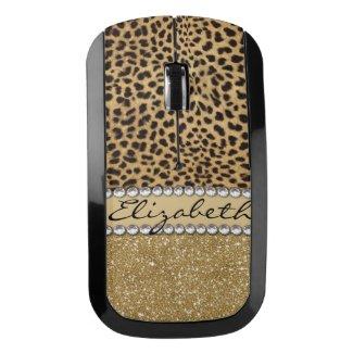 Leopard Spot Gold Glitter Rhinestone PHOTO PRINT Wireless Mouse
