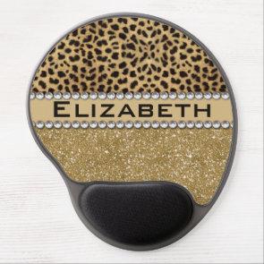 Leopard Spot Gold Glitter Rhinestone Print Pattern Gel Mousepad