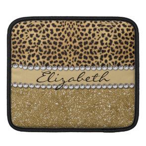 Leopard Spot Gold Glitter Rhinestone Print Pattern Sleeve For iPads