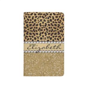 Leopard Spot Gold Glitter Rhinestone Print Pattern Journals