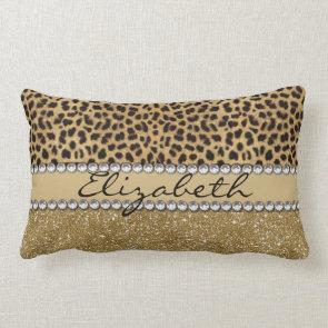 Leopard Spot Gold Glitter Rhinestone Print Pattern Pillows
