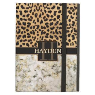 Leopard Spot Marble Monogram Case For iPad Air