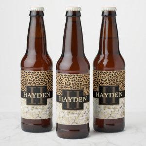 Leopard Spot Marble Monogram Name Beer Bottle Label