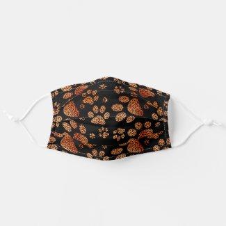 Leopard Spot Paw Prints Orange Cloth Face Mask