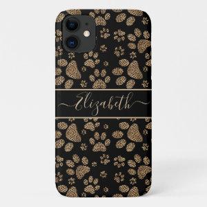 Leopard Spot Paw Prints Personalized iPhone 11 Case