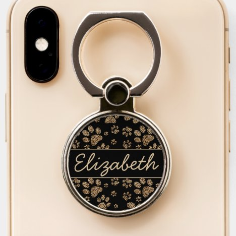 Leopard Spot Paw Prints Personalized Phone Ring Stand