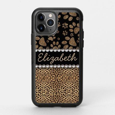 Leopard Spot Paw Prints Rhinestone PHOTO PRINT OtterBox Symmetry iPhone 11 Pro Case