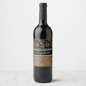 Leopard Spot Paw Prints Rhinestone PHOTO PRINT Wine Label