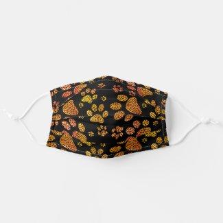 Leopard Spot Paw Prints Yellow Orange Cloth Face Mask