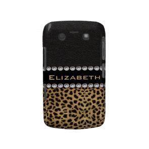 Leopard Spot Rhinestone Diamonds Monogram Blackberry Bold Cases
