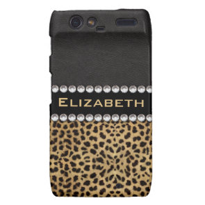 Leopard Spot Rhinestone Diamonds Monogram Custom Motorola Droid RAZR Cases