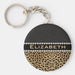 Leopard Spot Rhinestone Diamonds Monogram Custom Key Chains