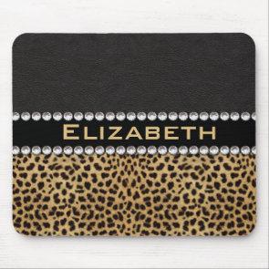 Leopard Spot Rhinestone Diamonds Monogram Custom Mouse Pad