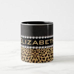 Leopard Spot Rhinestone Diamonds Monogram Custom Coffee Mugs