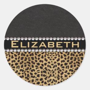 Leopard Spot Rhinestone Diamonds Monogram Custom Sticker