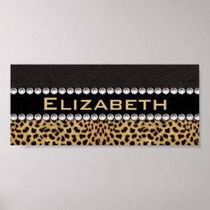 Leopard Spot Rhinestone Diamonds Monogram Poster
