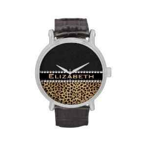 Leopard Spot Rhinestone Diamonds Monogram Watches