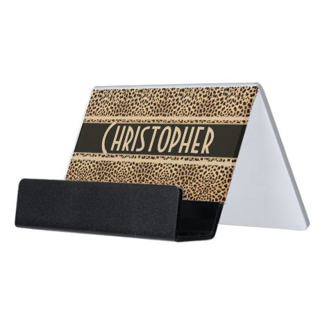 Leopard Spot Skin Print Personalized Desk Business Card Holder