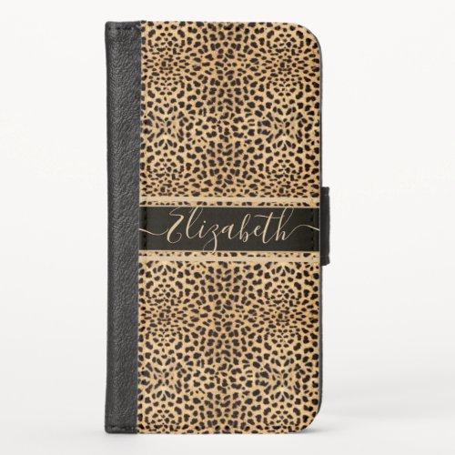 Leopard Spot Skin Print Personalized iPhone X Wallet Case
