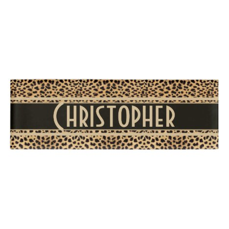 Leopard Spot Skin Print Personalized Name Tag
