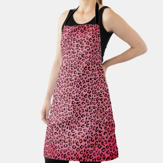 Leopard Spots Bright Pink Apron