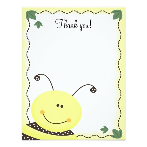 Let it Bee Bumble Bees 4x5 Flat Thank you note Invitation