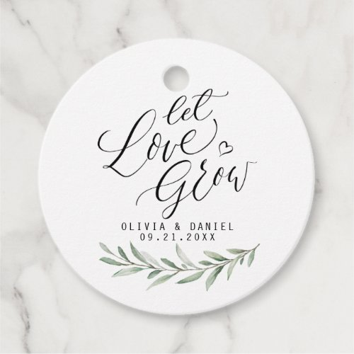 """""""Let love grow"""" modern calligraphy rustic greenery Favor Tags"""