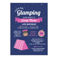 Let's Go Glamping Camp Navy Pink Invitation