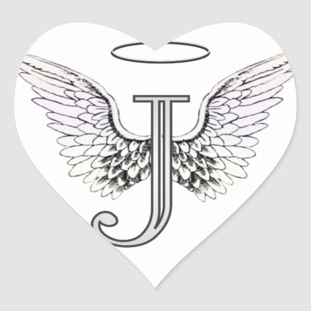 Letter J Initial Monogram With Angel Wings Amp Halo Heart