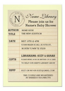 Library Card Baby Shower Yellow Invite Invitation