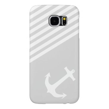 Light Grey Nautical Anchor and stripes Samsung Galaxy S6 Case