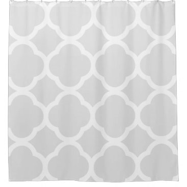 Light Grey & White Moroccan Quatrefoil Patterns Shower Curtain