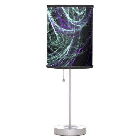 Light Within, Abstract Fractal Violet Indigo Swirl Desk Lamp